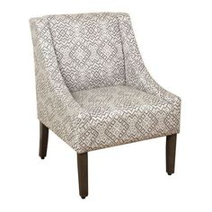 HomePop Swoop Accent Chair in Tonal Gray featuring polyvore, home, furniture, chairs, accent chairs, grey, gray chair, geometric pattern chair, grey accent chair, pattern accent chairs and pattern chair