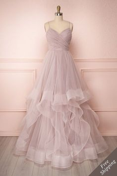 Pink Tulle A Line Prom Dress ,Charming Prom Gown,Tulle Party Gown,Layered Evening Dresses - 2020 New Prom Dresses Fashion - Fashion Of The Year A Line Prom Dresses, Tulle Prom Dress, Grad Dresses, Formal Evening Dresses, Dress Outfits, Wedding Dresses, Dresses Dresses, Casual Dresses, Summer Dresses