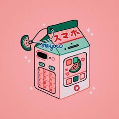 Meyoco: Saw some super cute milkbox-themed smartphone cases so I thought I should draw a smartphone-themed milkbox! Kawaii Wallpaper, Cute Wallpaper Backgrounds, Cute Wallpapers, Aesthetic Drawing, Aesthetic Art, Aesthetic Anime, Arte Do Kawaii, Kawaii Art, 8bit Art