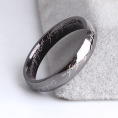 HOT SALE High Quality Metal Silver Black Blue Soft Letter Titanium Alloy Reticular Exquisite Steel Man Ring for Men Gift