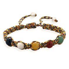 ONYX, WHITE AGATE, YELLOW AGATE, CARNELIAN, AVENTURINE BEAD MACRAME BRACELET - Bracelets