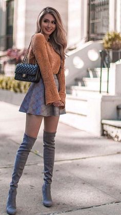 Comfortable Fall Outfits To Try This 2019 Mode Outfits, Skirt Outfits, Sexy Outfits, Stylish Outfits, Fashion Outfits, Womens Fashion, Fashion Trends, Fashion Ideas, Fashion Boots