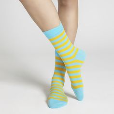 Why settle for white when you can have fun with your footwear? Marimekko Striped Blue/Gold Socks - $16