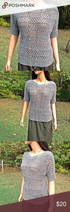 """Chico's Green Knit Pull Over Top Ribbed Hemline * Length 23"""" *  Bust armpit to armpit 19"""" (38) *  Short Sleeves *  Orders ship within 1 Business Day excluding weekends. Thanks For Shopping with Dress To Impress Thrift & Boutique.  Have A Great Day Chico's Tops Blouses"""