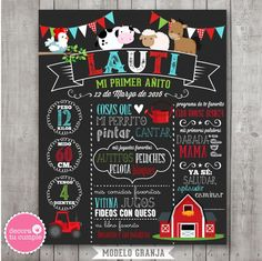 lamina pizarra granja varón presentacion 03 Chalk Lettering, Picnic, Baby Shower, Holiday Decor, Party, Gifts, Chalkboard Ideas, Random, Box