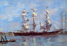 Honfleur, Three Master in Port Oil Painting - Eugene Boudin