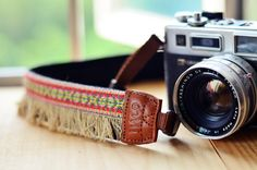Red Bohemian Camera Strap for DSLR / SLR Quick Release by iMoShop