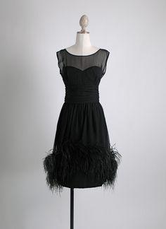 1950s 60s feather trimmed cocktail dress hemlockvintage.com