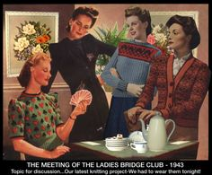 """""""The Bridge Club."""" Created for Vintage Patterns/Classic Movies knitting contest, 1943."""