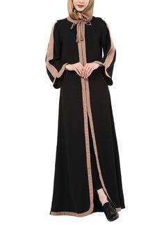 Black and Beige Contoured Jacket Style Abaya Tesettür Mayo Şort Modelleri 2020 Burqa Designs, Abaya Designs, Mode Abaya, Mode Hijab, Abaya Fashion, Fashion Outfits, Black Abaya, Muslim Women Fashion, Indian Fashion Designers