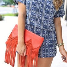 Beehive Fringe Clutch Item from the closet of fashion blogger Courtney Shields, B.Y.O.Beauty.    Fringe clutch in orange from Beehive in Austin. Comes with removable crossbody strap. Manmade materials. New with tag. Retail - $45. Beehive Bags Clutches & Wristlets