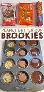 Peanut butter stuffed brookies Peanut Butter Cup Cookies, Peanut Butter Desserts, Reeses Peanut Butter, Brownie Desserts, Fun Desserts, Cookie Brownies, Strawberry Desserts, Refrigerated Cookie Dough, Brookies Recipe