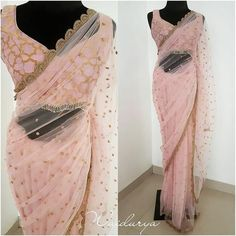 Beautiful blush pink color net saree and designer blouse with sleeve less. Designer saree and blouse with hand embroidery gold thread work. Latest Designer Sarees, Latest Sarees, Indian Designer Outfits, Indian Outfits, Eid Outfits, Bridal Outfits, Designer Dresses, Indian Gowns, Indian Wear