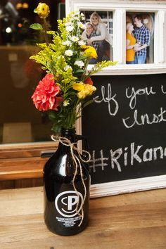 Beer Growler Flower Vase Wedding