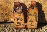 Everything Six Shooter creates is from love, for someone you love, they'll love it, and you'll love us. Browse our one of a kind laser engraved bracelets, necklaces, natural bone and coconut guitar picks and keychains.  Her Cowboy, His Angel Keychains #sixshootergifts