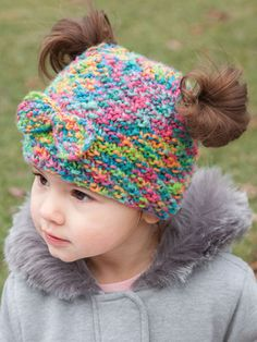 anniescatalog… Messy Bun & Pigtail Knit Hat Annie's Signature Designs Loom Knitting Projects, Crochet Projects, Knitting Patterns, Crochet Patterns, Hat Patterns, Crochet Hook Set, Diy Crochet, Crochet Baby, Crochet Beanie Pattern