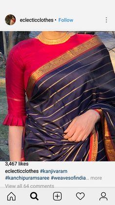 Latest designer blouse design - The handmade craft Pattu Saree Blouse Designs, Simple Blouse Designs, Stylish Blouse Design, Fancy Blouse Designs, Bridal Blouse Designs, Indian Blouse Designs, Brocade Blouse Designs, Latest Saree Blouse, Saree Blouse Patterns