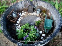 charmed gardens a collection of fairy miniature garden making tips, container gardening, crafts, gardening, terrarium, A barrel is perfect for a fairy garden This one is by Sensible Gardening Living at