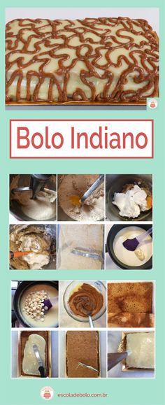 Este delicioso Bolo Indiano é feito com farinha de rosca e açucar mascavo. #bolo #receitadebolo #escoladebolo #receitasdoces #aprendaonline #façaevenda