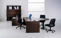 Office & Workspace, Elegant White Wall Paint Office Room Design Inspiration With Nice Dark Brown Wood Office Desk And Comfortable Black Leather Office Chairs Also Cool Dark Brown Wood Freestanding Office Cabinet: See Comfortable Office Room Design Modern