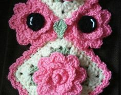 Crochet Easter owl Potholder pattern only by 3ThreadinBettys