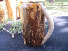 Wooden mug antler handle beer mug beer stein by SilverOakFurniture, $70.00