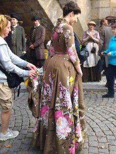 BTS S2 in Prague Outlander. Such a fabulous dress.