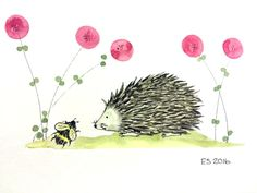 ORIGINAL WATERCOLOUR PAINTING HARRY HEDGEHOG - RED POPPIES & BUMBLE BEE