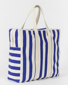 large stripe canvas tote travel bag