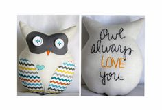 Owl Always Love You  Plush Owl Lovey in Chevron Print (Teal, Orange, Yellow, and Gray) by SoVerySweet on Etsy   SoVerySweet.Etsy.com