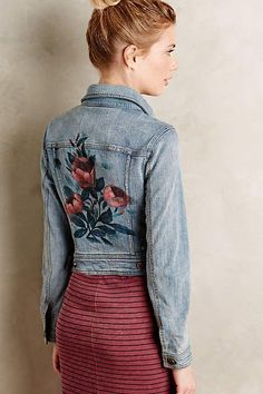Need to paint this, easy! Pilcro Rosegarden Denim Jacket - anthropologie.com #anthrofave