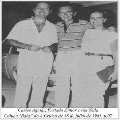 """Carlos Aguiar, Furtado Júnior e Yêda. Coluna """"Baby"""" do A Crítica de 18 de julho de 1983."""