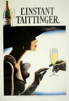 Champagne Girl Vintage Poster Print - Laminated - Art Deco French Poster R Posters Vintage, Retro Poster, Art Deco Posters, Poster Prints, Art Print, Art Deco Illustration, Art Du Vin, Wein Poster, Don Perignon