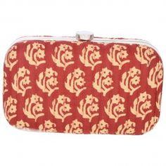 Floral Rangoli - Handmade Red Floral Cotton Box Clutch