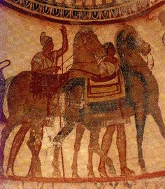 Thracian Tomb of Kazanlak, A scene depicting the farewell of the groom and bride.
