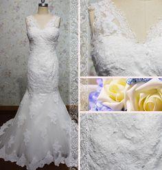 Elegant vneckline sleeveless mermaid lace by Loveannaweddingdress, $325.00