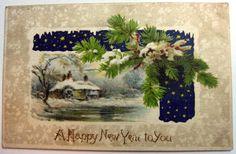 Happy New Year Postcard on Fabric