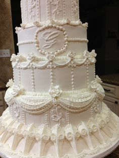 Royal icing piped wedding cake                              …