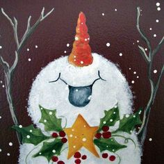 """Joyful snowman - handpainted Christmas art - wall hanging plaque - with greeting - """"JOY"""". Would make a great Christmas card! Christmas Canvas, Christmas Paintings, Christmas Signs, Christmas Snowman, Winter Christmas, Christmas Decorations, Christmas Ornaments, Snowmen Paintings, Easy Paintings"""
