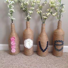 Twine Wine Bottle Vase Set by CiderHillSisters on Etsy Glass Bottle Crafts, Diy Bottle, Diy Decorate Jars, Twine Wine Bottles, Wine Glass Candle Holder, Easy Canvas Art, Decorated Jars, Wine And Beer, Faux Flowers
