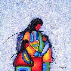 Winter Mother art print and other works by artist Cecil Youngfox on sale today. Native American Paintings, Native American Artists, South American Art, American Women, American Indians, Claudia Tremblay, Haida Art, Mother Art, Organic Art
