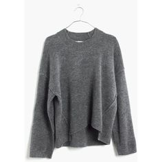 MADEWELL Connection Sweater ($80) ❤ liked on Polyvore featuring tops, sweaters, hthr medium grey, grey pullover sweater, sweater pullover, gray top, madewell et boxy top