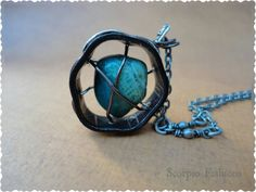 Chrysocolla Necklace  Caged Stone Necklace  by ScorpioFashions