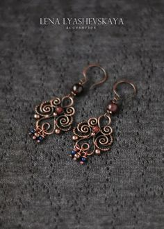 Wire Jewelry Earrings, Wire Wrapped Earrings, Copper Jewelry, Beaded Earrings, Earrings Handmade, Handmade Jewelry, Copper Wire, Jewellery, Bijoux Fil Aluminium
