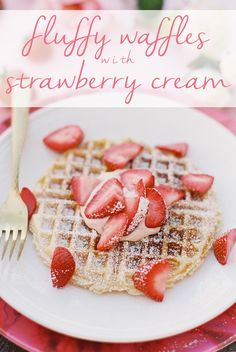 Homemade Mother's Day food inspiration for teens and adults. Treat mom to delicious waffles and strawberry cream.