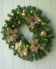Christmas wreath burlap wreath evergreen wreath by DoorDecorShop