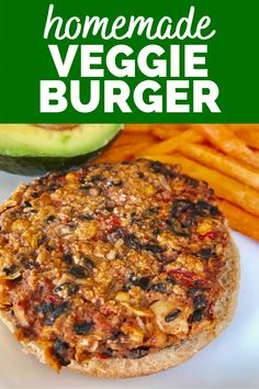 This homemade veggie burger will please even the pickiest eaters!  It's a healthy vegetarian burger recipe - and you'll also find a recipe for a red pepper spread to put on top.  Try it today!  #veggieburger