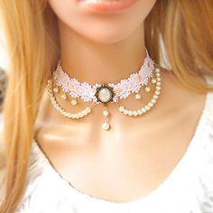 VictoriaKay White Diamond & Round Rose Quartz Center Halo Style Pendant Set in Gold. With Ball Chain (J-K, - Top Drawer Jewelry Lace Necklace, Lace Jewelry, Fabric Jewelry, Jewelry Crafts, Wedding Jewelry, Vintage Jewelry, Jewelry Accessories, Fashion Accessories, Handmade Jewelry
