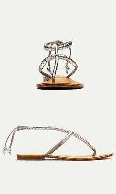 handmade Italian leather metallic sandals