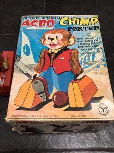 Rare Vintage Battery Operated Acro Chimp Porter with Original Box, Fully Working Tin Toys, Acro, Classic Toys, Battery Operated, Japan, The Originals, Box, Vintage, Okinawa Japan